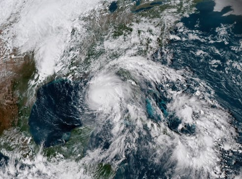 Hurricane Michael advances across the Gulf of Mexico toward Florida in this image captured by the NOAA's GOES-16 satellite on Tuesday, Oct. 9, 2018.
