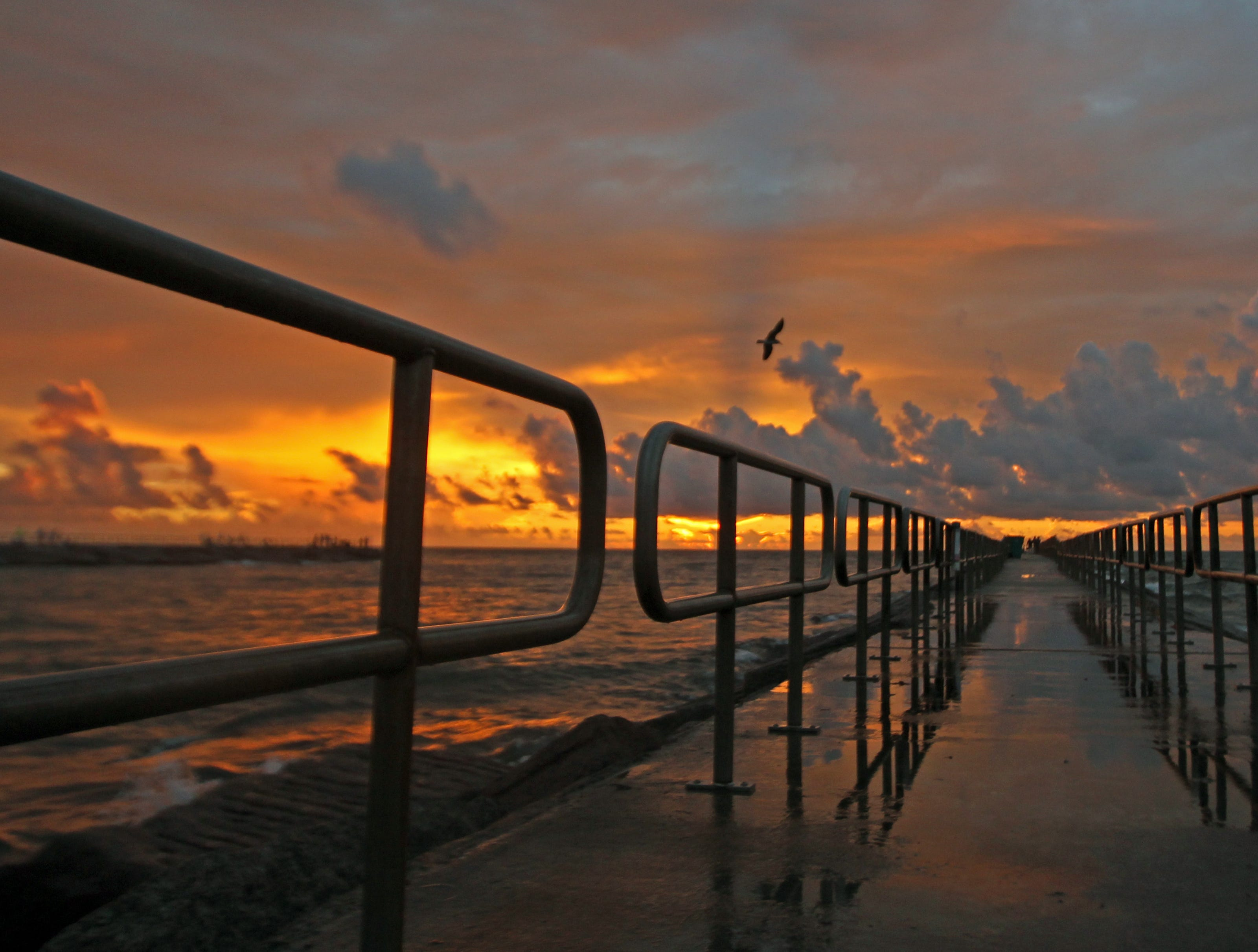 A recent spectacular sunrise at the south Packery jetty.