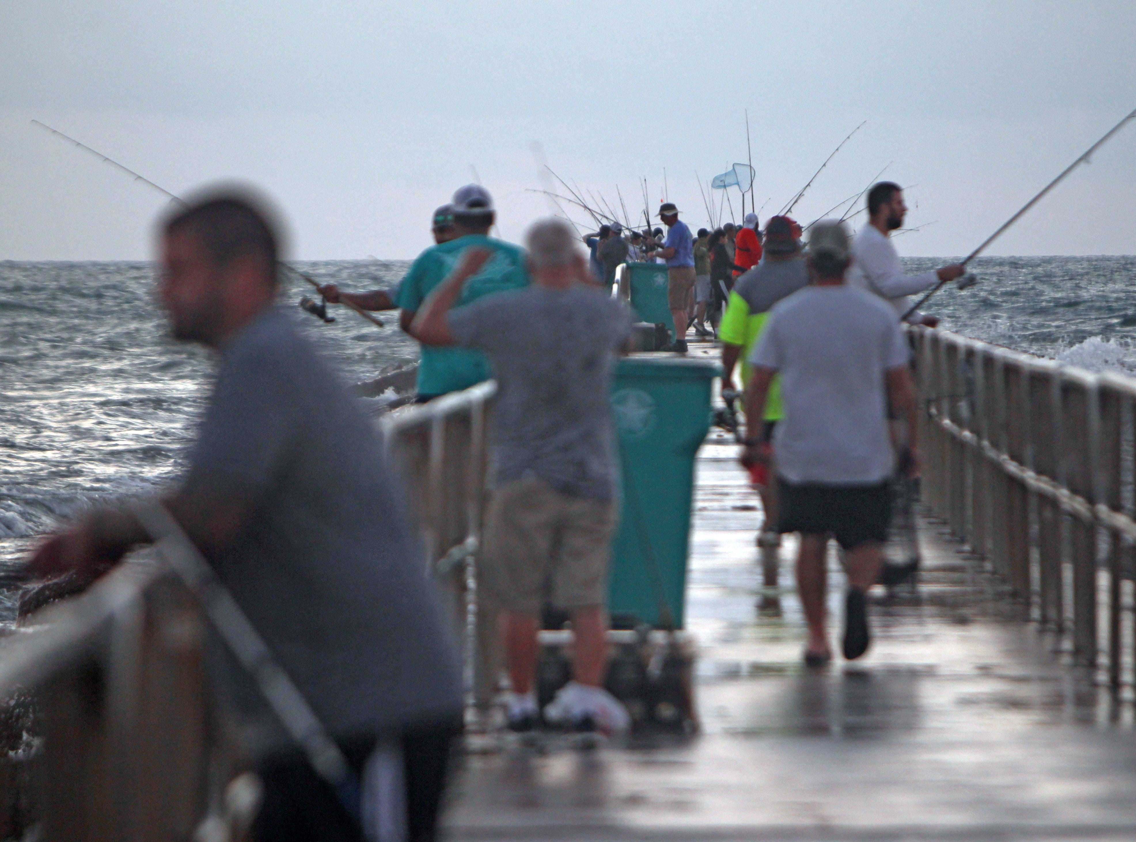 When the jetty's end is this crowded, it's best to fish elsewhere.