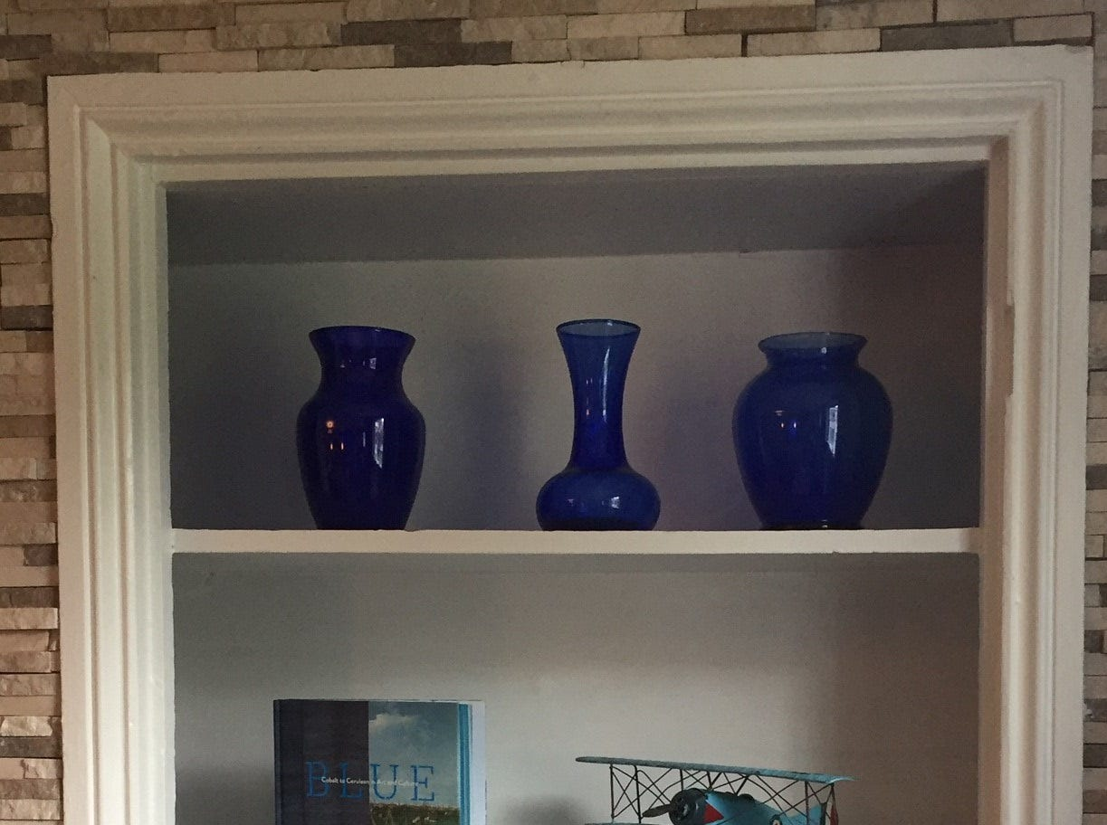 Blue accents add color to the interior of Denim American Bistro in Cherry Hill.