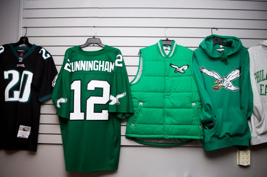 An array of throwback Eagles apparel from Hello Sports Fans in Haddonfield.