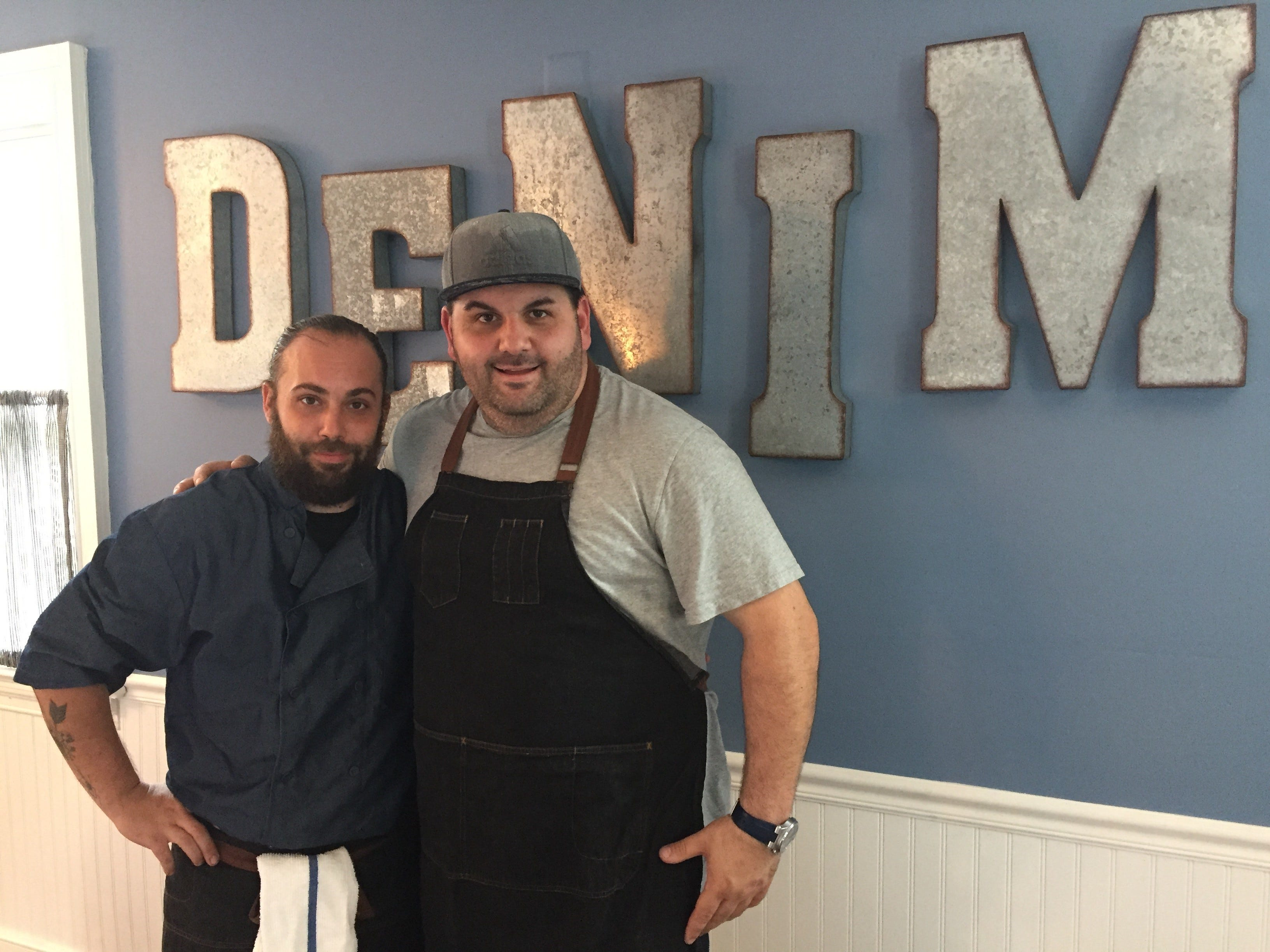 Chef-owner David Murray, left, and Chef de Cuisine Ed Stein, are nearly ready to open the doors on Denim American Bistro. Both chefs are familiar with the restaurant kitchen, having worked at The Farmhouse, which closed earlier this year.