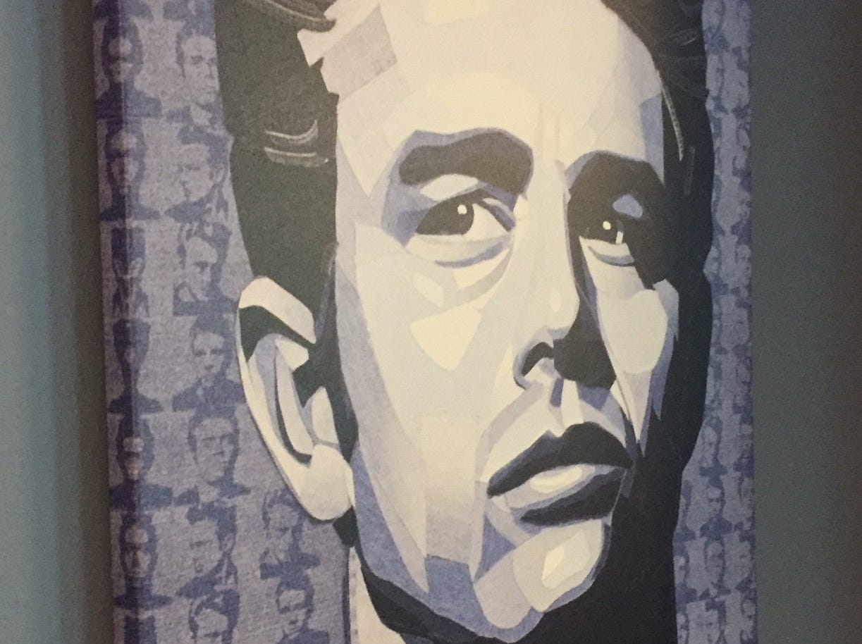 A portrait in denim by artist Ian Berry is one of many works by the artist to grace the walls of Denim American Bistro in Cherry Hill.