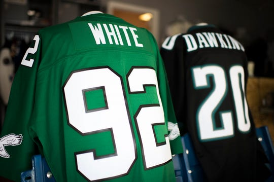 Throwback Reggie White and Brian Dawkins jerseys from Hello Sports Fans in Haddonfield.