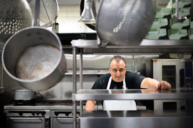 Owner and chef Joe Scarpinato inside his kitchen at Scarpinato's in Turnersville, N.J.