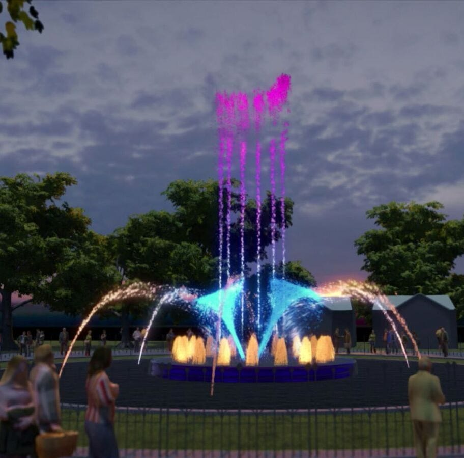 A rendering shows the Franklin Square Fountain dancing water and light display set to debut next summer.