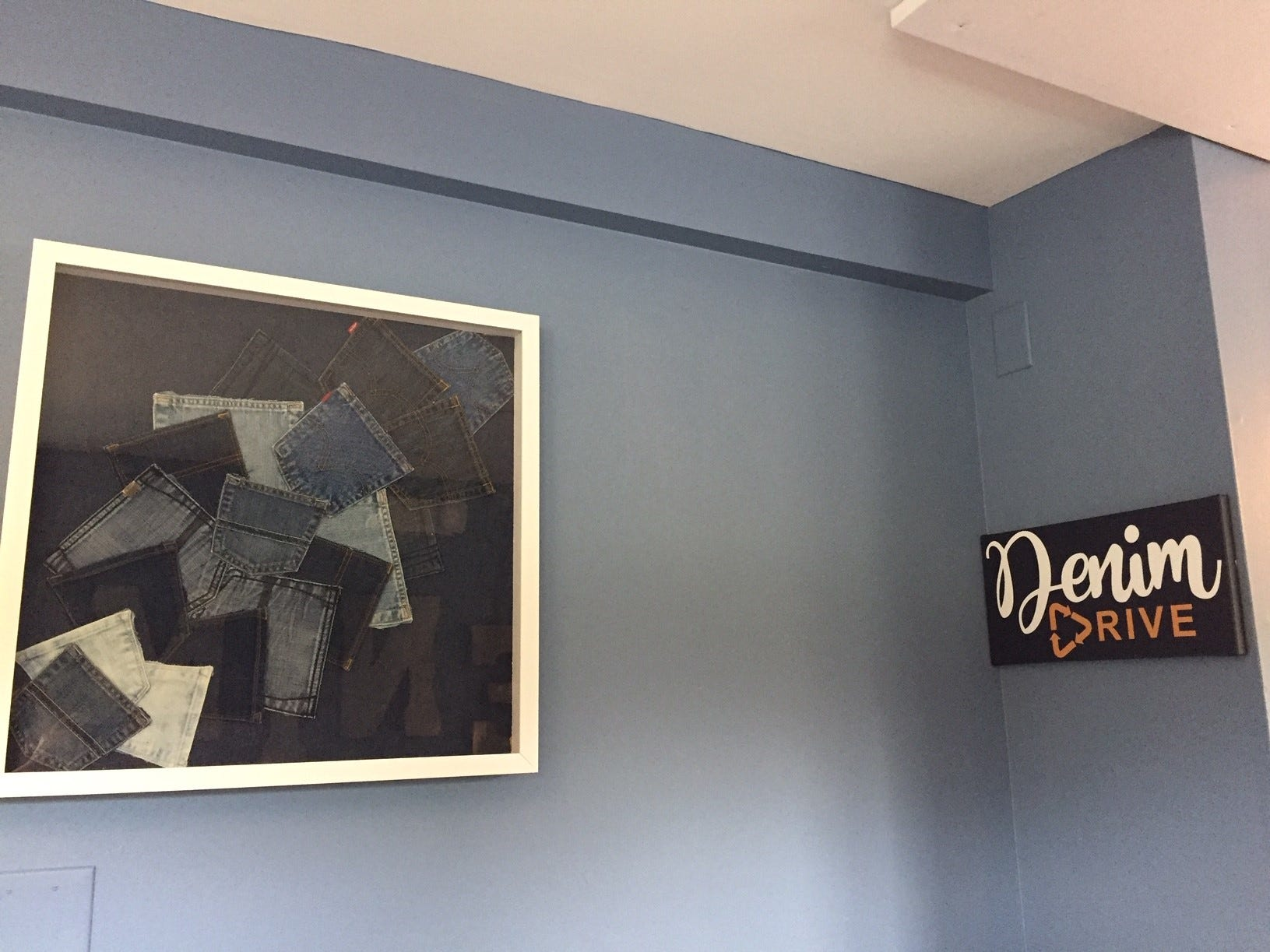 Chef-owner David Murray's wife, Stacy Murray, created a lot of denim artwork for Denim American Bistro.