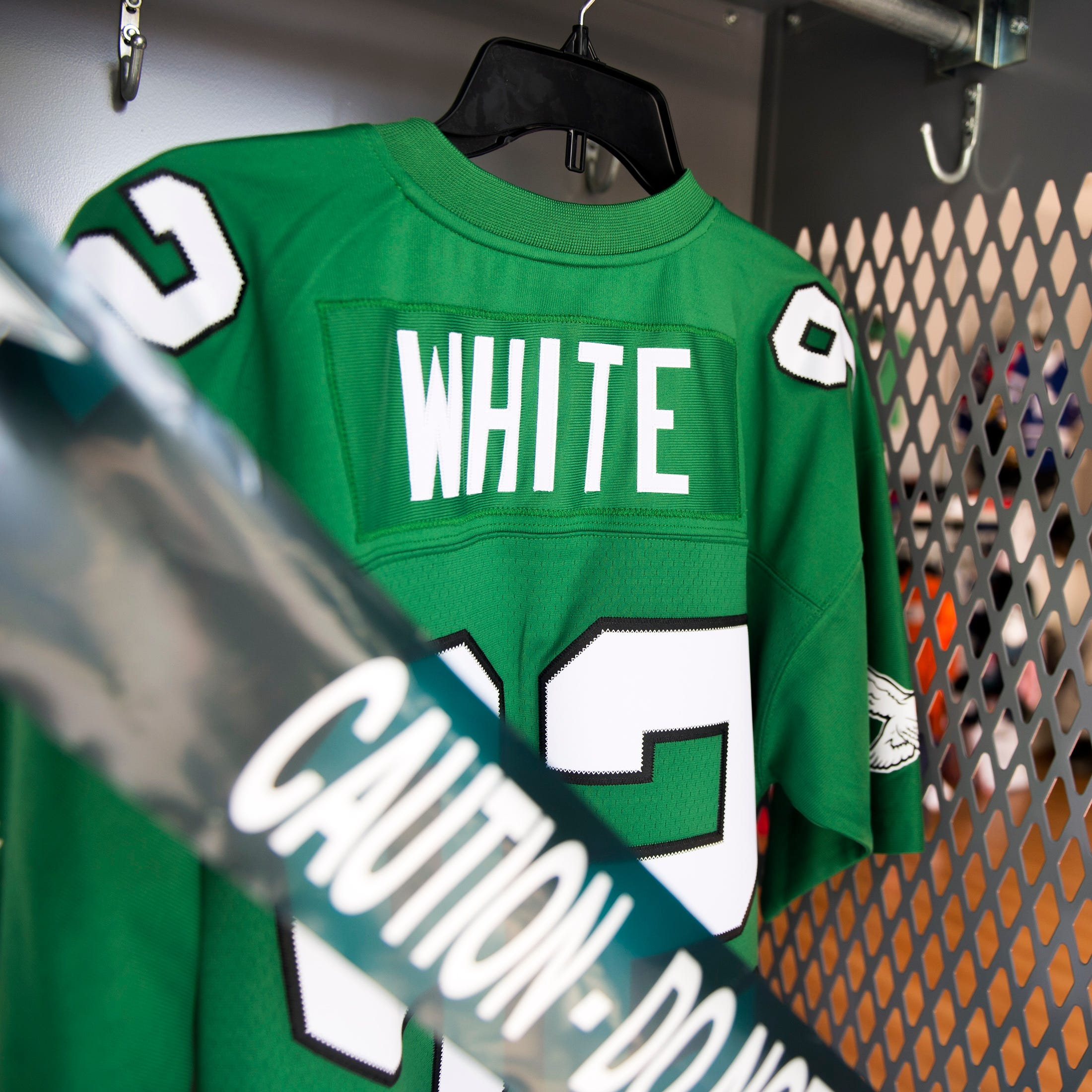 A throwback Reggie White jersey from Hello Sports Fans in Haddonfield.