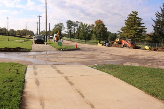 A roundabout is being built at the entrance to the new subdivision on Plainfield Road.
