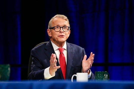Republican gubernatorial candidate Mike DeWine speaks at a debate at Cleveland State University, Monday, Oct. 8, 2018, in Cleveland.