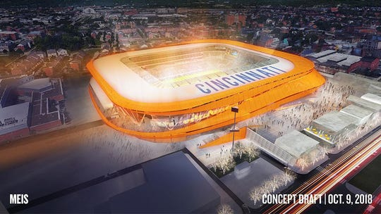 Rendering of the initial plan for the FC Cincinnati stadium in the West End. This view is from Central Parkway, looking west northwest. Taft High School is on the left in the schematic.
