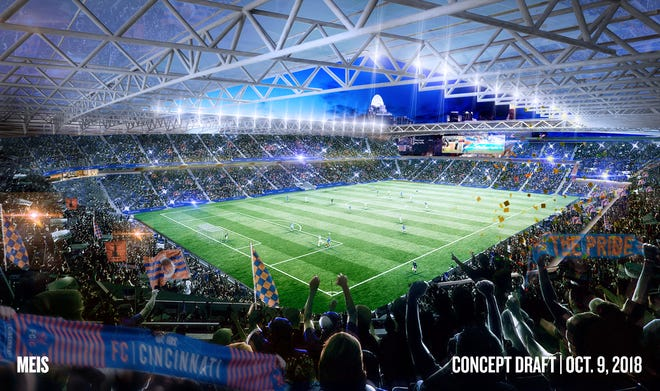 A rendering of a packed, yet-to-be-named FC Cincinnati stadium, scheduled to open in March 2021.