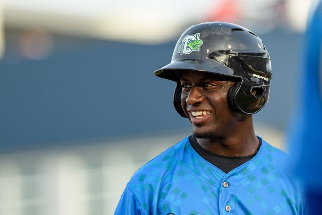Jun 16, 2018; Tampa, FL, USA; Florida State North outfielder Taylor Trammell (7) smiles on the field during the third inning of the Florida State League All Star Game at George M. Steinbrenner Field. Mandatory Credit: Douglas DeFelice-USA TODAY Sports