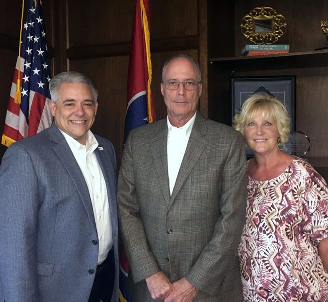 From L-R: Chamber Board Chairman, Jay Albertia; Military and Government Relations, Phil Harpel; Chamber Executive Director, Melinda Shepard.
