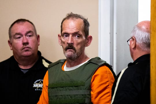 Kirby Gene Wallace enters the courtroom during his first appearance at the Stewart County Courthouse Tuesday, Oct. 9, 2018, in Dover, Tenn.