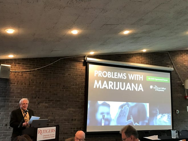 "Peter Crist, president of the American College of Orgonomy, speaking at the group's event ""Problems With Marijuana"" at a Rutgers University facility in New Brunswick."