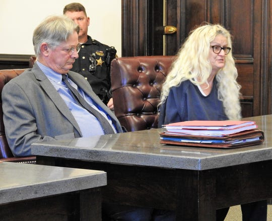 Jerrie L. Rastorfer, next to her attorney Jeffrey Kellogg, addresses Judge Robert Batchelor before being sentenced on two heroin trafficking charges in Coshocton County Common Pleas Court