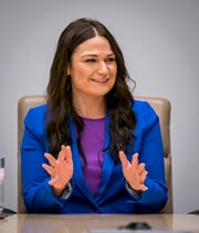 Abby Finkenauer, Democratic candidate in Iowa's 1st Congressional District, meets with the Des Moines Register editorial board Tuesday, Oct. 9, 2018, in Des Moines.