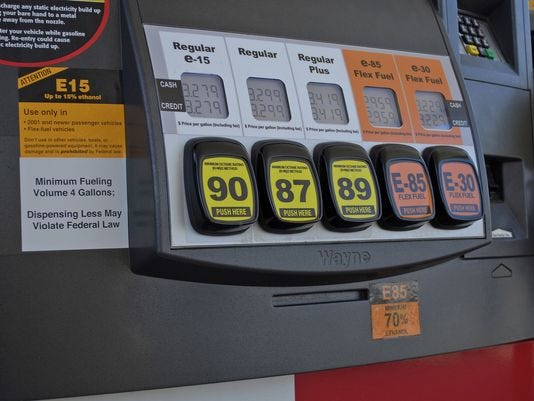 A Lawrence, Kan., fueling station pump displays various grades of fuel, including E15, which contains 5 percent more ethanol than the current 10 percent norm sold at most U.S. gas stations