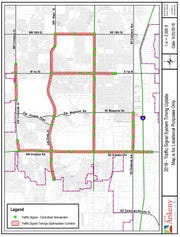 This map shows the intersections where Ankeny will be retiming traffic signals.