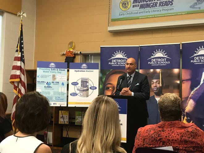 Detroit Superintendent Nikolai Vitti speaks during a press conference Tuesday, Oct. 9, at Munger Elementary-Middle School in Detroit.
