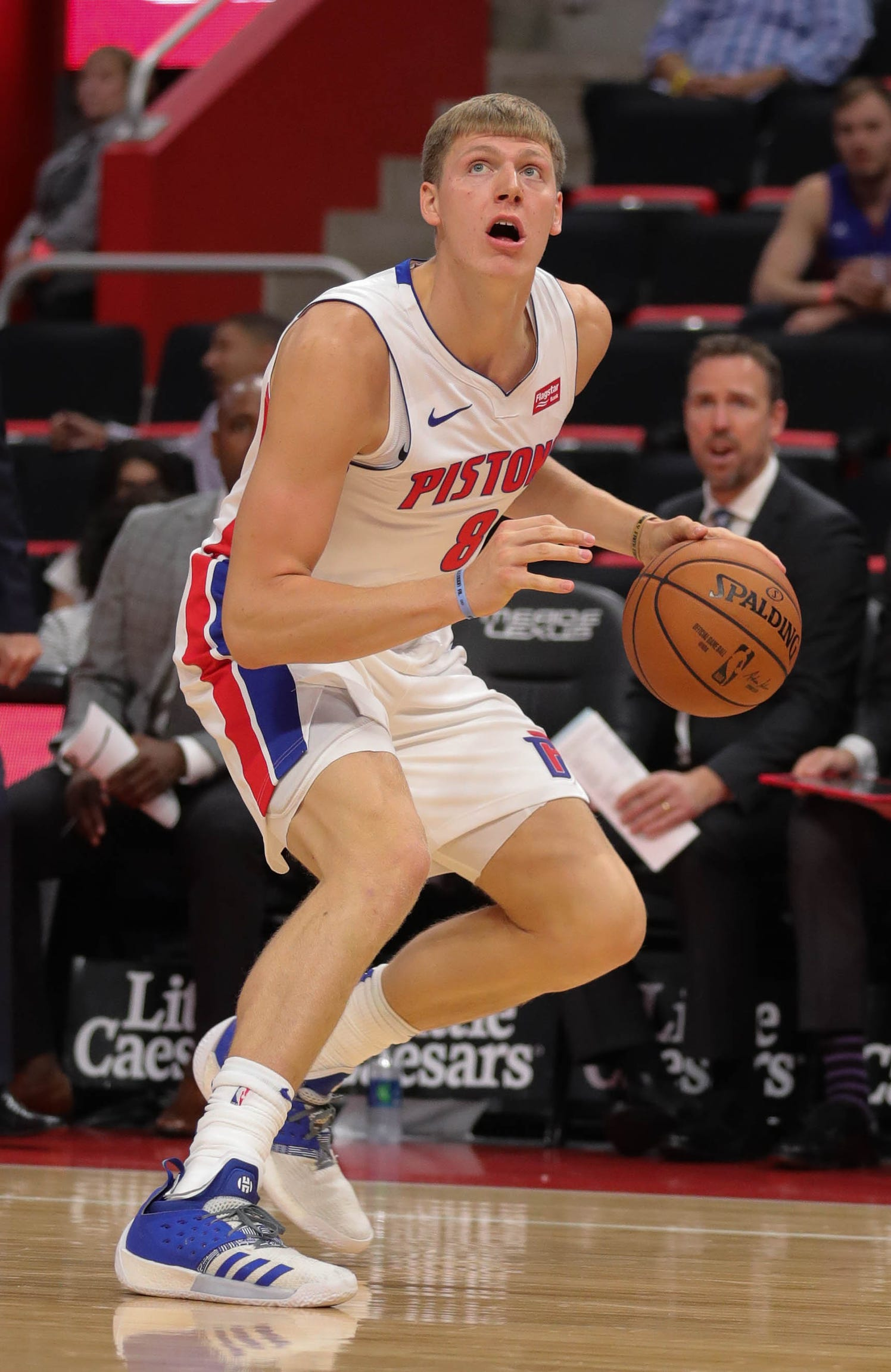 Detroit Pistons forward Henry Ellenson drives against the Brooklyn Nets during the second quarter Monday, Oct. 8, 2018 at Little Caesars Arena.