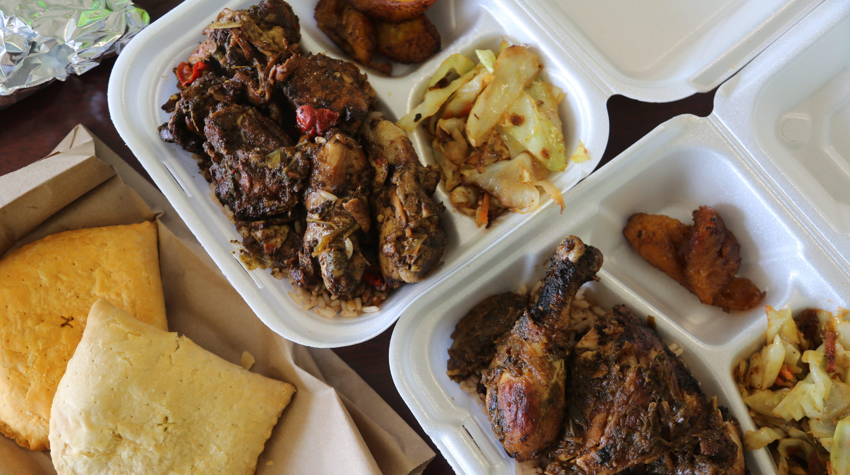 From left: Jamaican patties, brown stew chicken and jerk chicken from Delphine's Jamaican Restaurant in Warren.