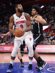 Detroit Pistons center Andre Drummond drives against Brooklyn Nets center Jarrett Allen during the second quarter Monday, Oct. 8, 2018 at Little Caesars Arena.