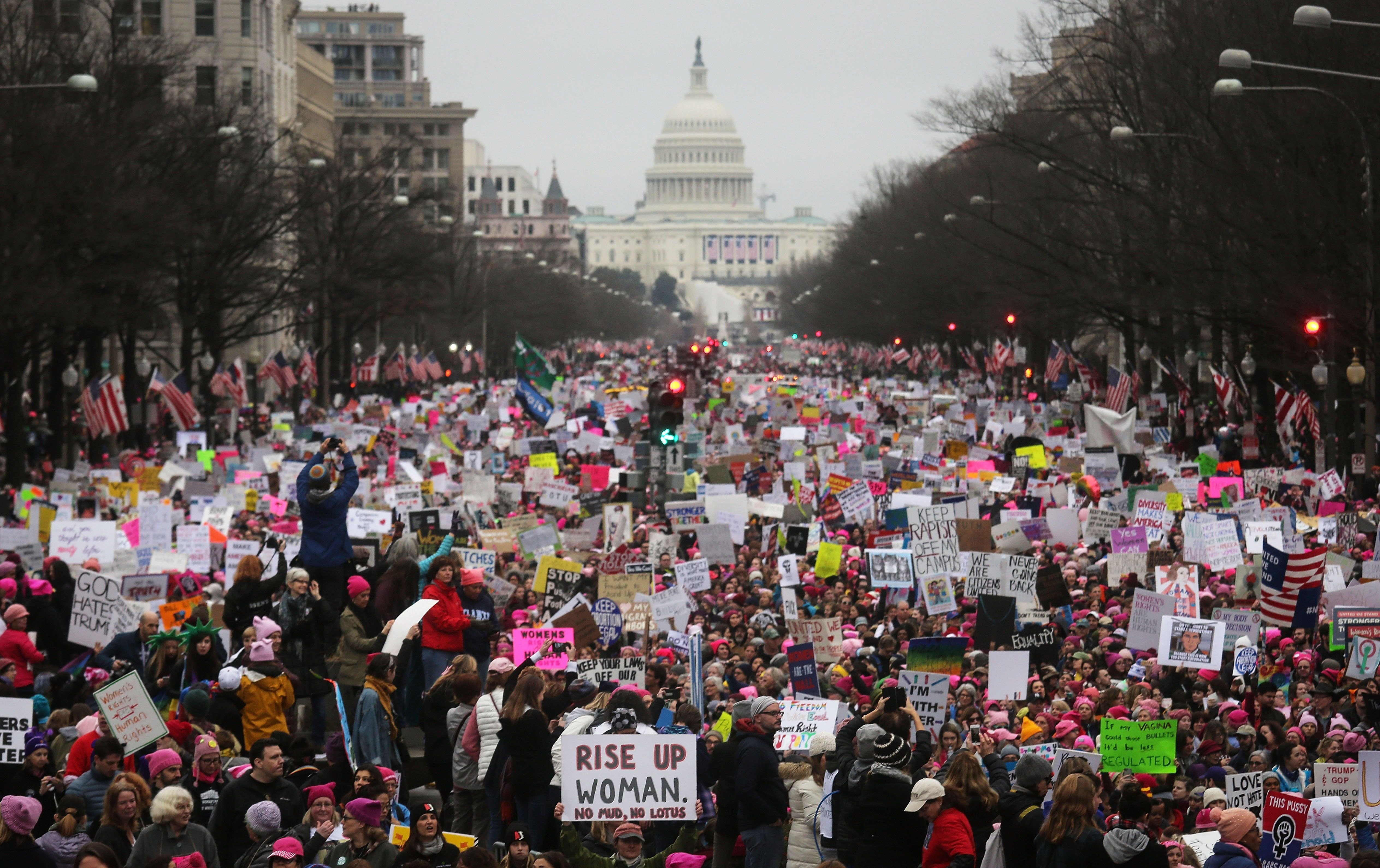 Protesters walk during the Women's March on Washington on Jan. 21, 2017, in Washington, DC.