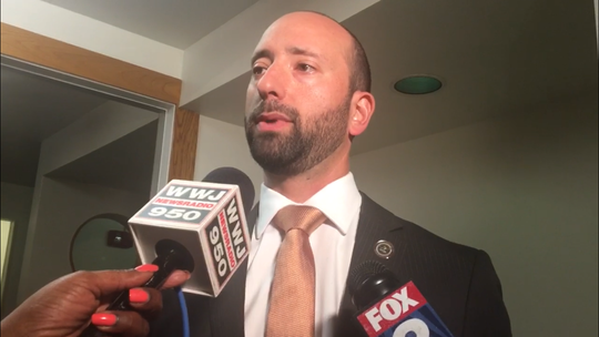 Detroit Councilman Gabe Leland answers questions from the media Oct. 9, 2018, nearly a week after he was indicted on federal bribery charges.