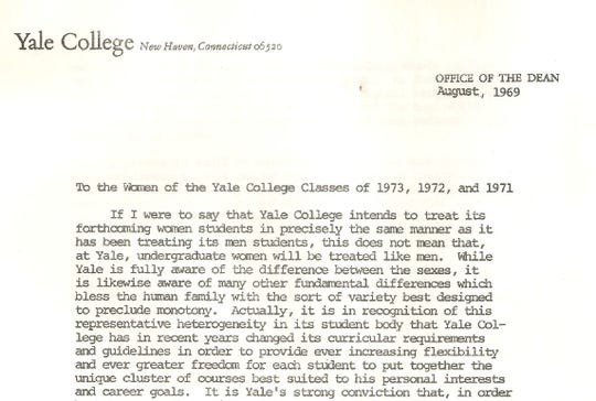 A screenshot of a digital version of a letter sent to Yale's first female undergraduate students. The letter was discovered at an estate sale.