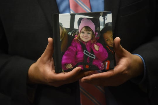 """A photo book titled """"My Little Princess"""" was shown at the sentencing of Brad Edward Fields for the death of 4-year-old Gabby Barrett, Tuesday in Detroit."""