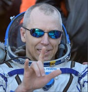 Expedition 56 Cmdr. Drew Feustel of NASA after landing Oct. 4.