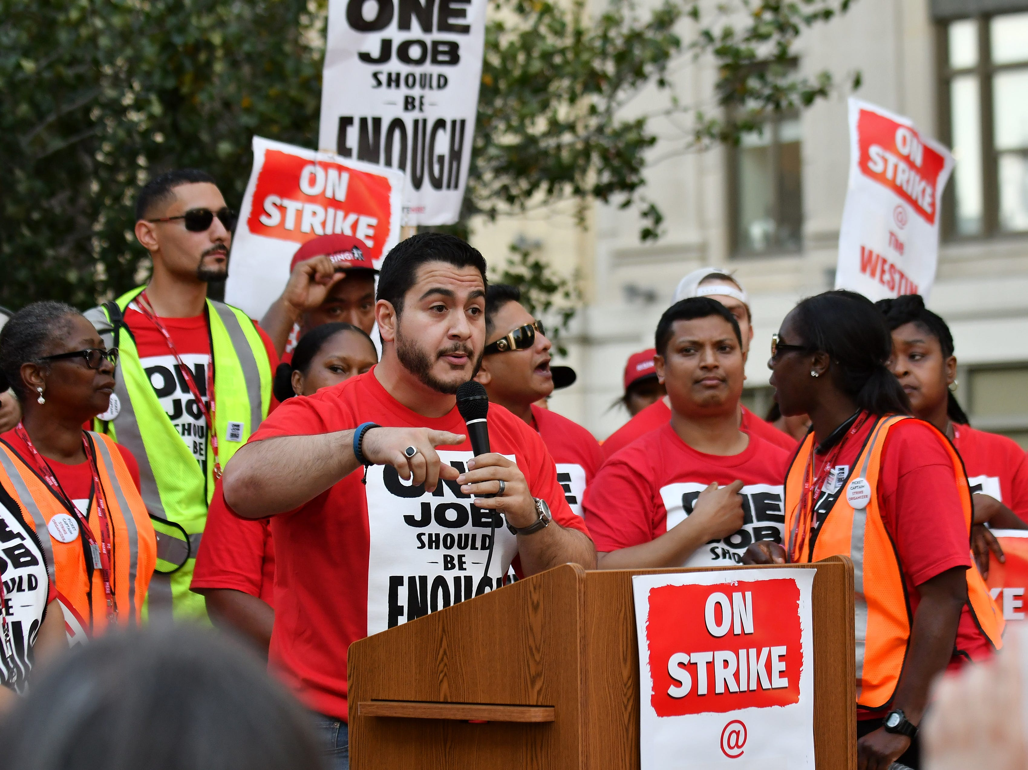 Democratic activist Abdul El-Sayed speaks at a rally for workers from Unite Here Local 24 on strike at the Westin Book Cadillac in Detroit on Oct 9, 2018.