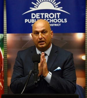 Superintendent Nikolai Vitti discusses plans Tuesday to install water stations across the district beginning next week.