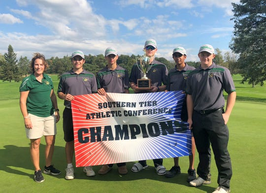 Vestal won the team title at the STAC golf championships Oct. 9, 2018 at Robert Trent Jones Golf Course in Ithaca.