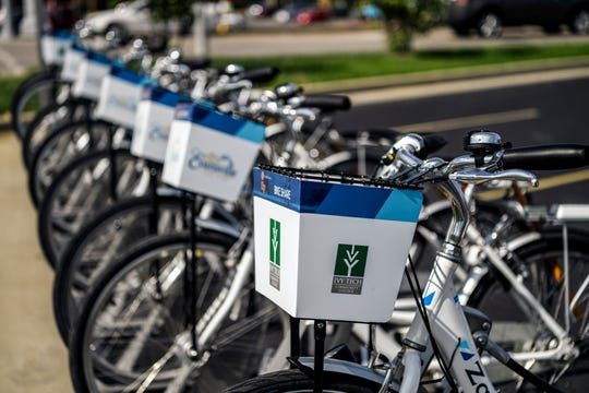 A new Evansville Trails Coalition Upgrade bike share location was unveiled at the corner of Colonial Avenue and First Avenue beside the Ivy Tech Community College campus in Evansville, Tuesday afternoon.