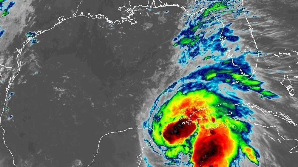 An infrared view of Hurricane Michael.