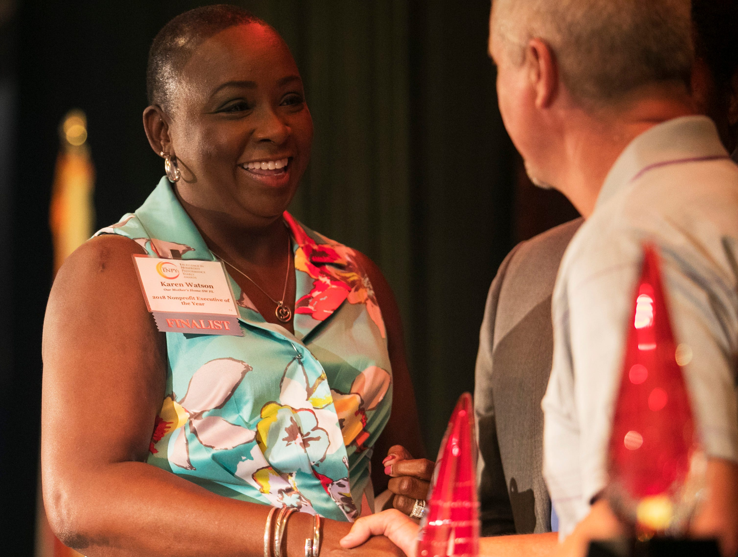 Karen Watson of Our MotherÕs Home accepts her award for 2018 Nonprofit Executive of the Year at the Excellence in Nonprofit Performance Yearly Awards on Tuesday, October 9, 2018, in Fort Myers.