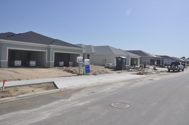 Street after street of homes by Lennar are under construction at Babcock Ranch.