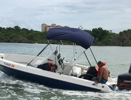 The Coast Guard rescued two boaters and their dog Tuesday off Fort Myers Beach.