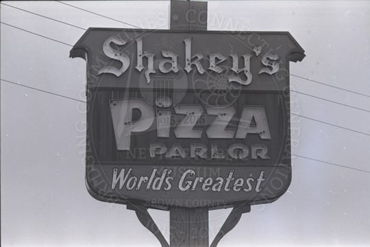 A Shakey's Pizza Parlor sign. The pizza place operated two locations in the Green Bay area between 1967 and 2003.