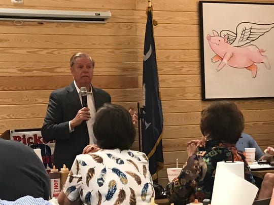 U.S. Sen. Lindsey Graham speaks to members of the Pickens County Republican Party at Mutt's BBQ in Easley on Monday, Oct. 8, 2018.