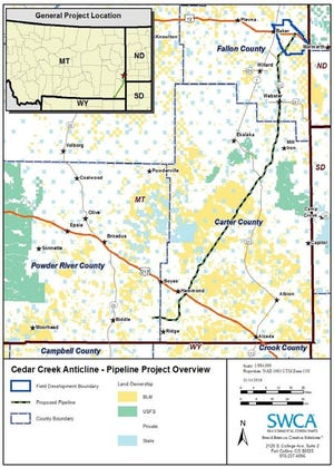 The proposed route of the CO2 pipeline.