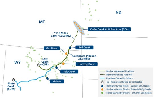 The dotted line shows Denbury Resources' proposed CO2 pipeline.