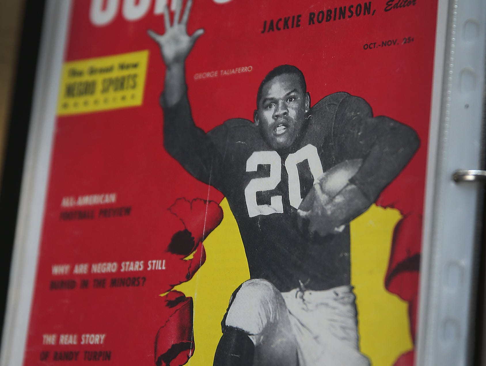 George Taliaferro, 91, former IU football star, was the first African-American drafted by an NFL team. Here Taliaferro on the cover of Our Sports magazine.