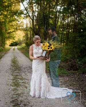 Kendall Murphy is superimposed into a photo of Jessica Padgett in her wedding dress at the Glendale Fish & Wildlife Area in Montgomery, Indiana. Murphy was killed last year in Daviess County while on duty as a volunteer firefighter.