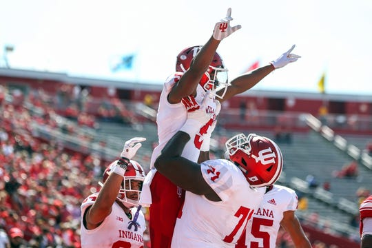 Hoosiers wide receiver J-Shun Harris II (5) celebrates his touchdown catch during the first half of their game against the Rutgers Scarlet Knights at High Point Solutions Stadium.