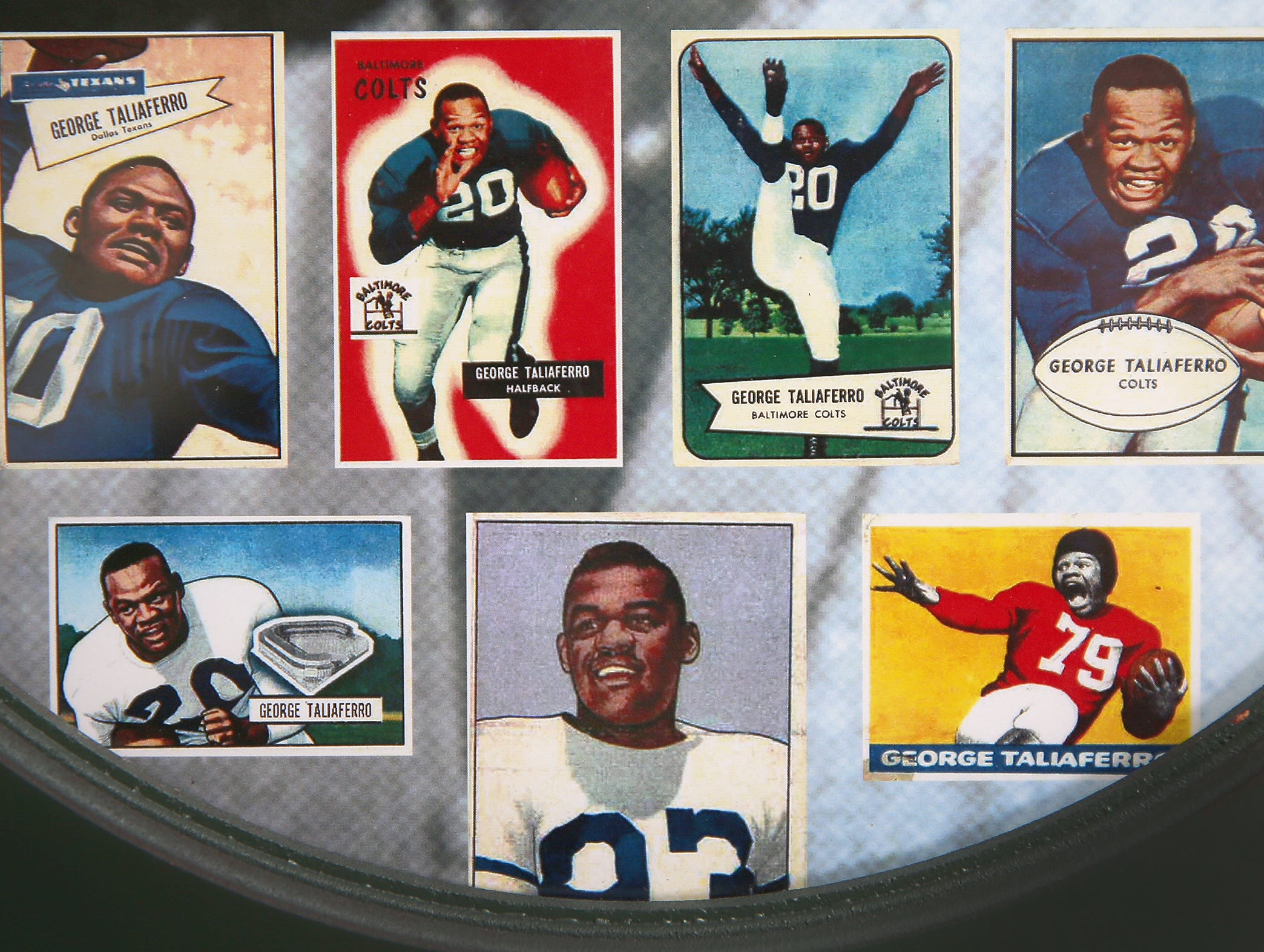George Taliaferro, 91, former IU football star, was the first African-American drafted by an NFL team. Here are numerous trading cards of Taliaferro he has framed in his Bloomington home.