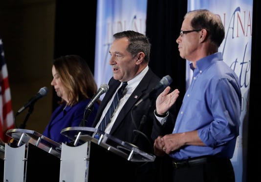 Joe Donnelly, Mike Braun and Lucy Brenton debate